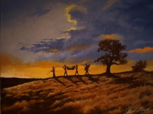 African Hunters at Dusk